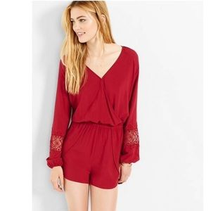 LIKE NEW Cranberry Red Long Sleeve Romper